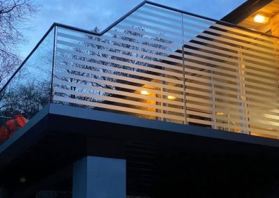Balcony with frosted panels